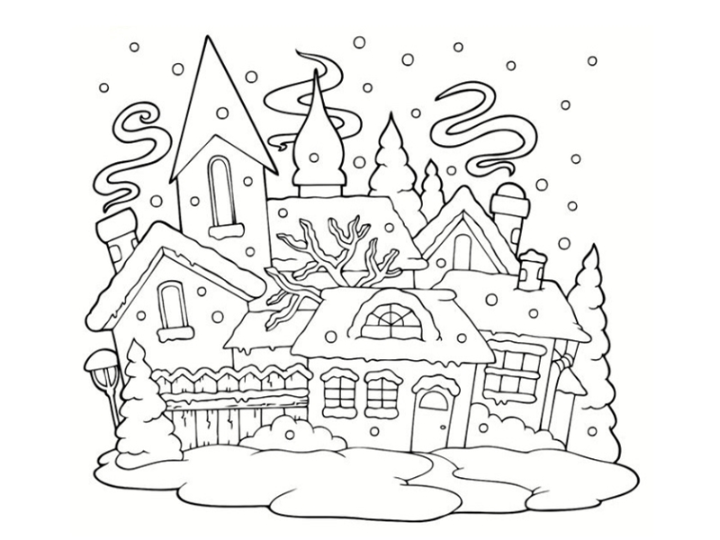 Coloriages de maisons - Coloriage village de noel ...