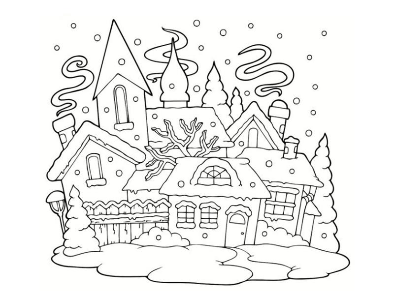 Coloriages de maisons for Dessin maison en ligne