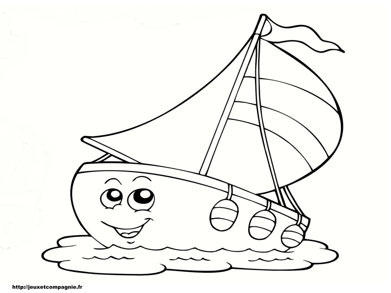 Coloriages de v hicules - Dessin petit bateau ...