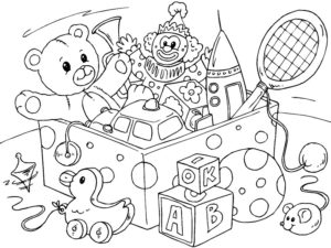 coloriage coffre à jouets