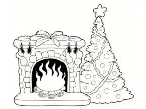 coloriage cheminée noel
