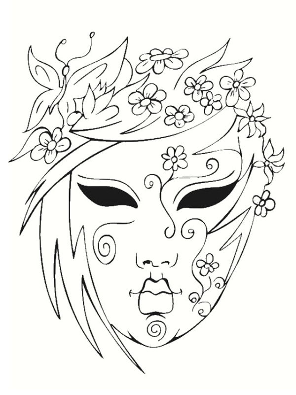 Coloriage de mardi gras - Coloriage masque ...
