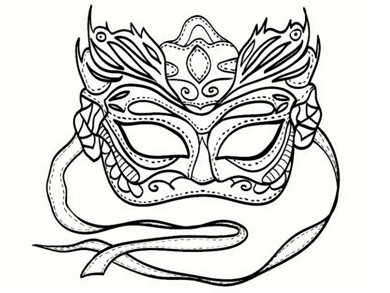 Coloriage de mardi gras - Dessin de masque de carnaval ...