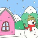 Coloriage paysage hiver : 30 dessins à imprimer gratuitement