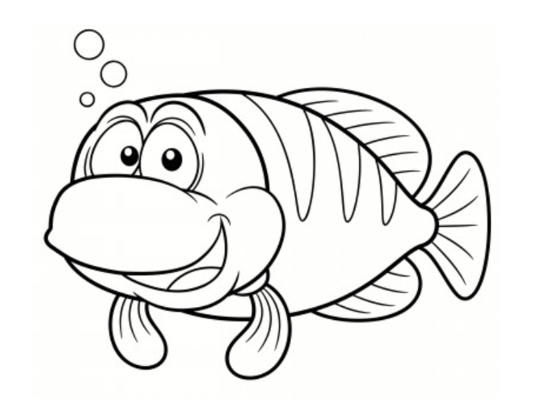 Poissons coloriages - Dessin de poisson facile ...