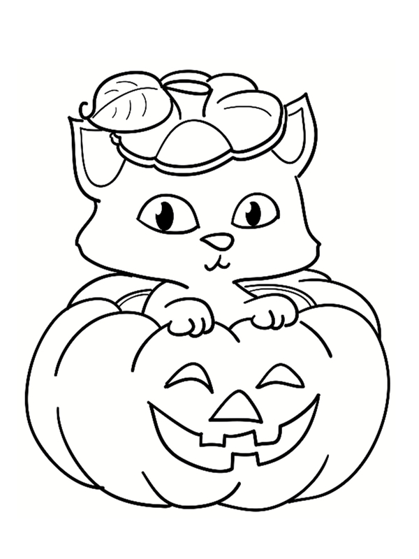 Coloriage citrouille 21 mod les imprimer - Dessin chat halloween ...