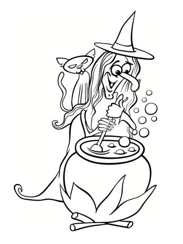 Monstres d 39 halloween les coloriages - Dessin sorciere halloween ...