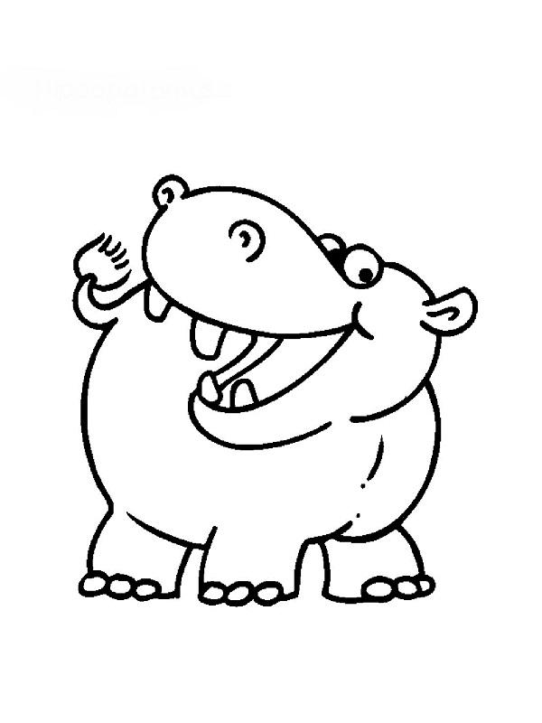 Coloriages animaux - Dessin d hippopotame ...