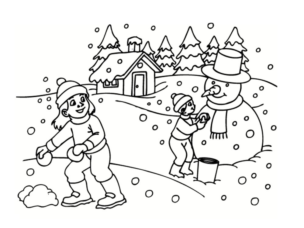 Coloriage hiver 24 dessins imprimer - Paysage enneige dessin ...