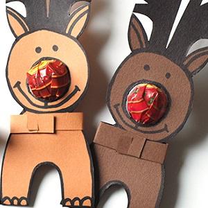 Rudolph le renne en papier - Dessin de renne au nez rouge ...