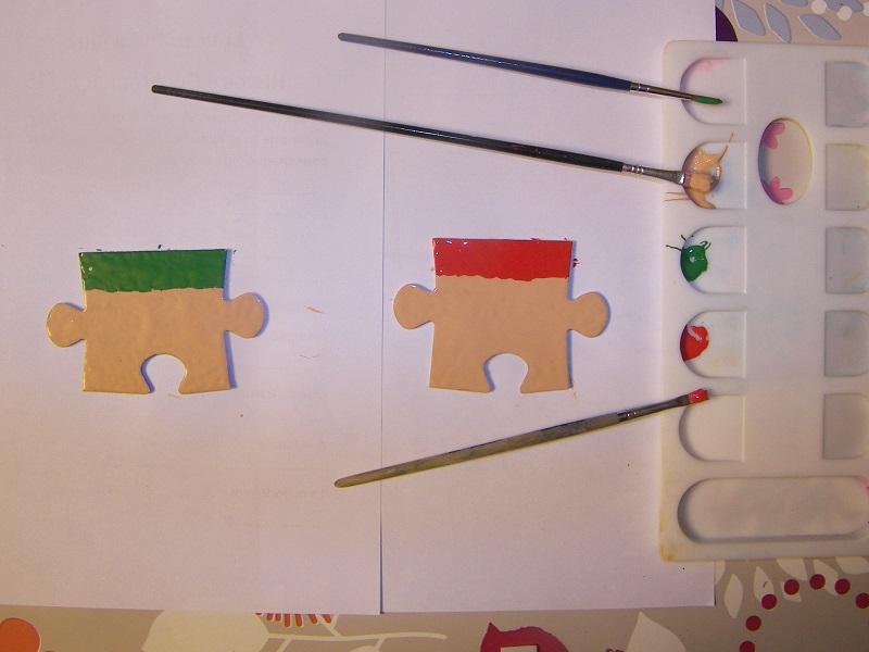 décorations de noël avec des vieux puzzles