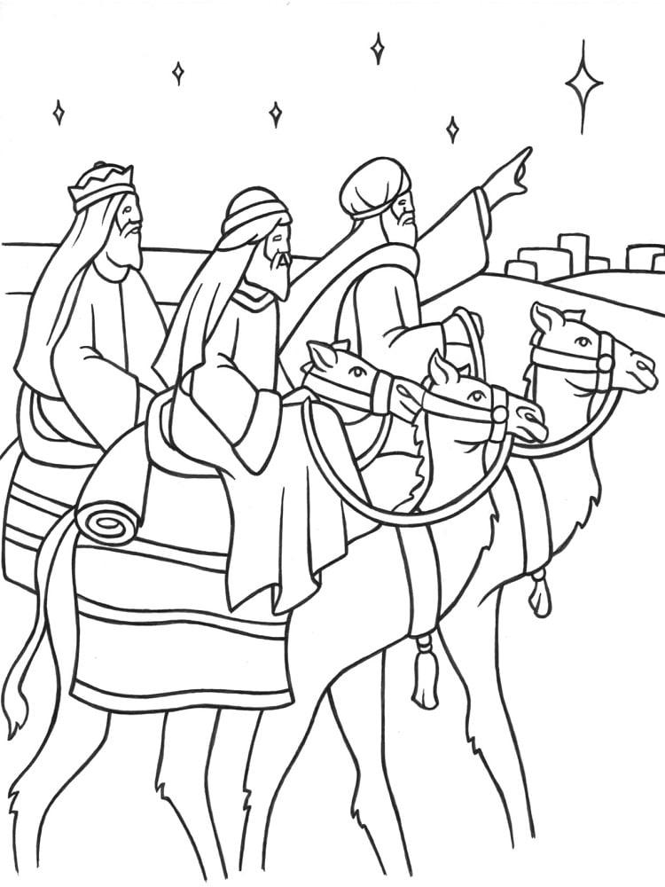 Coloriage piphanie rois mages galette - Dessiner un chameau ...