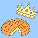 Coloriage Épiphanie : rois mages, galette et couronnes à imprimer