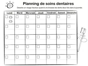 planning brossage de dents