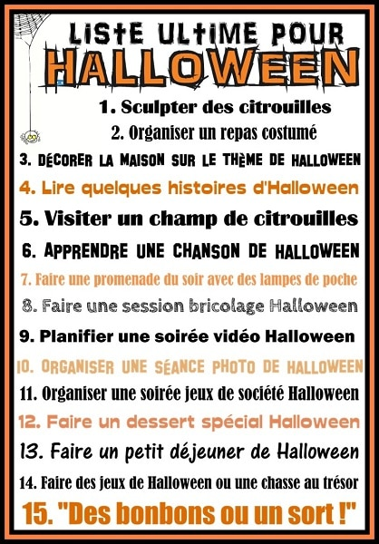 liste ultime pour halloween imprimer gratuitement. Black Bedroom Furniture Sets. Home Design Ideas
