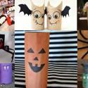 Personnages d'Halloween avec des rouleaux de papier toilette