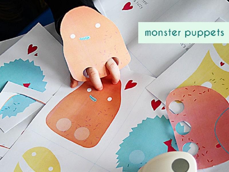 marionnette monstre papier