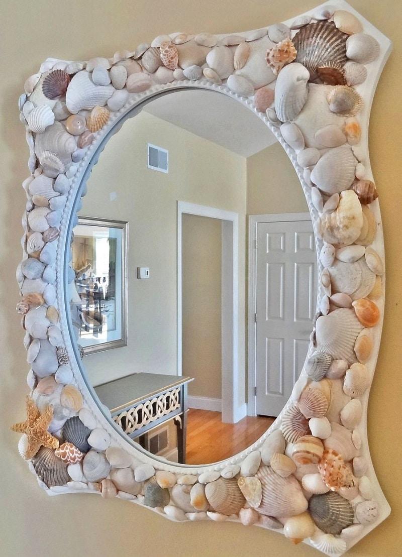 cadre miroir coquillages