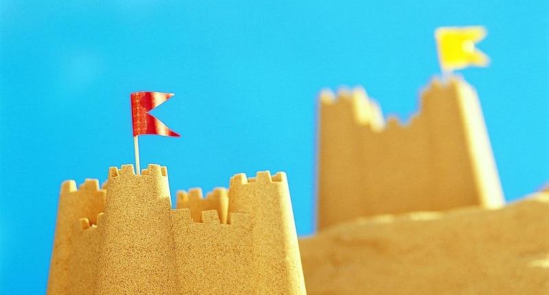 chateau sable drapeau