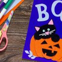 Carte Halloween : le chat et la citrouille