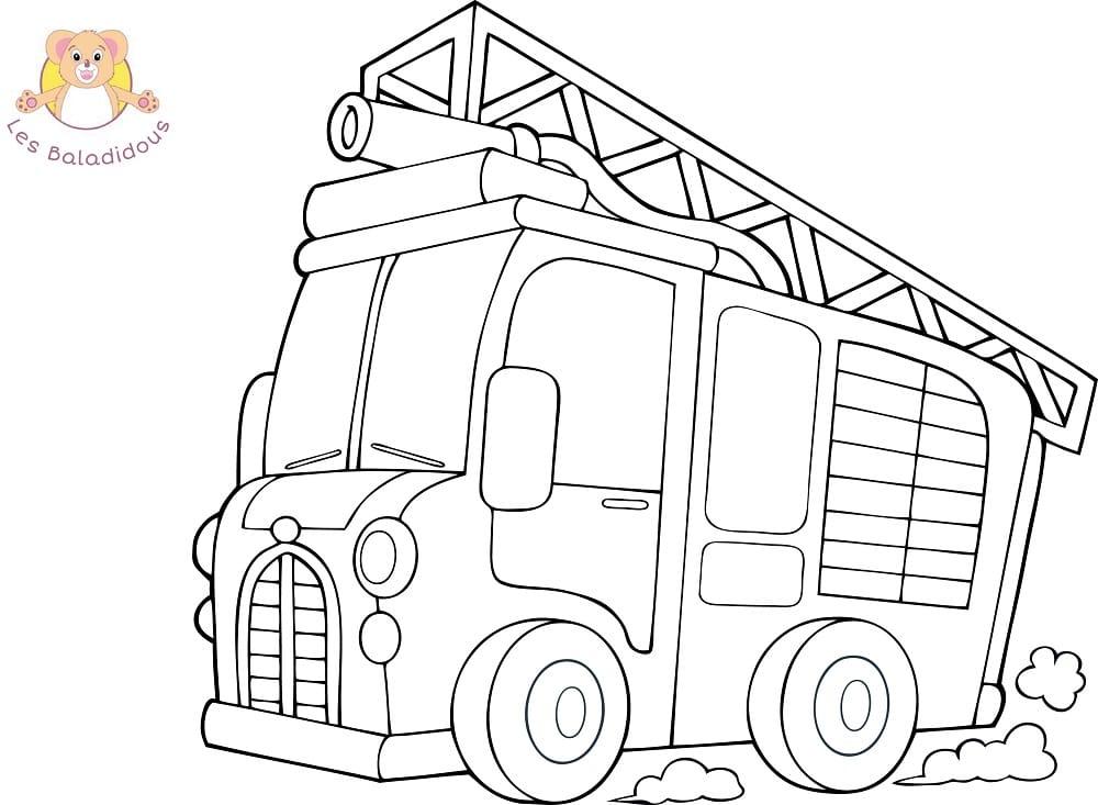 Coloriages et comptines - Dessin d un camion de pompier ...