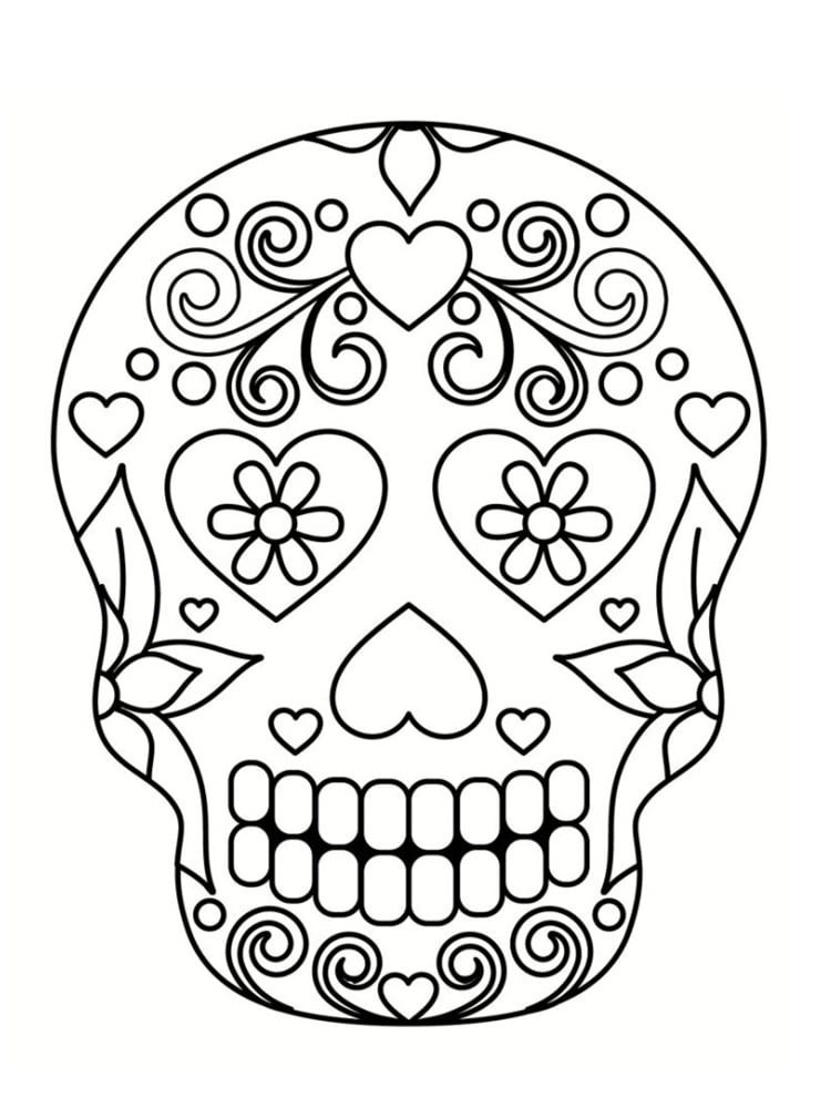 Coloriage Tete De Mort Mexicaine Fille Coloriages à