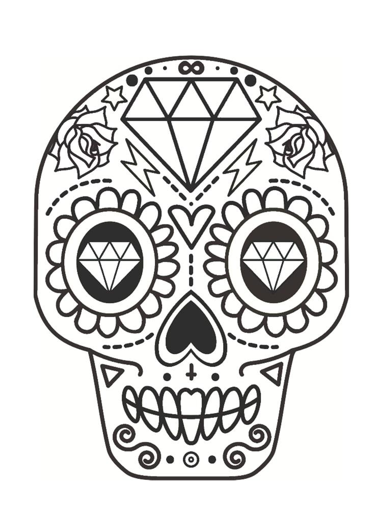 Coloriage t te de mort mexicaine 20 dessins imprimer - Image pour fille a imprimer ...
