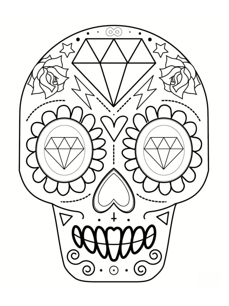 Coloriage t te de mort mexicaine 20 dessins imprimer - Des dessins a imprimer ...