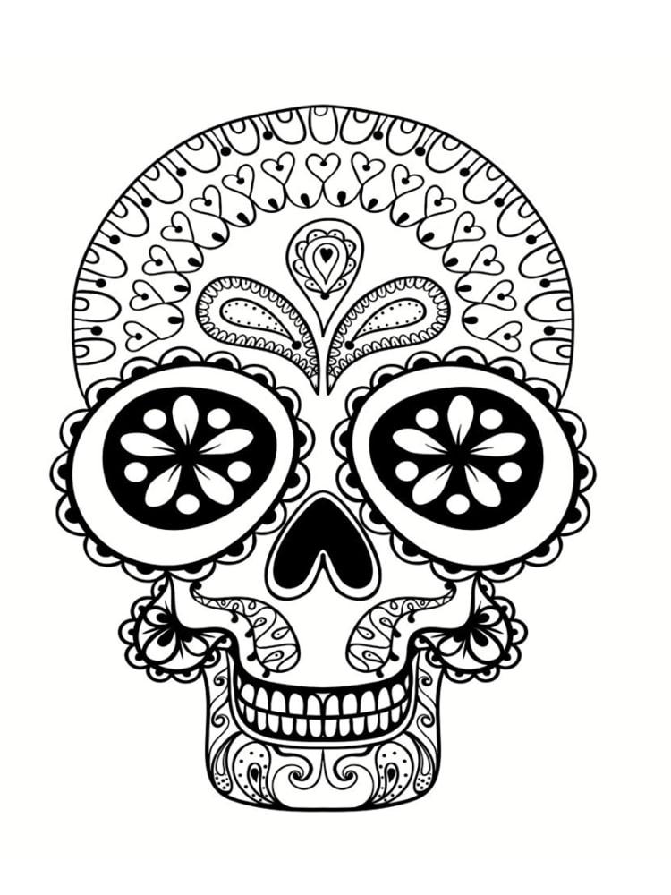Coloriage t te de mort mexicaine 20 dessins imprimer - Tatouage cavalera ...
