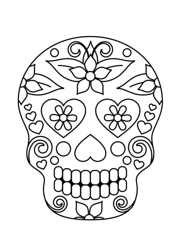 Coloriage Tete De Mort A Imprimer Dans Les Squelette Sucre