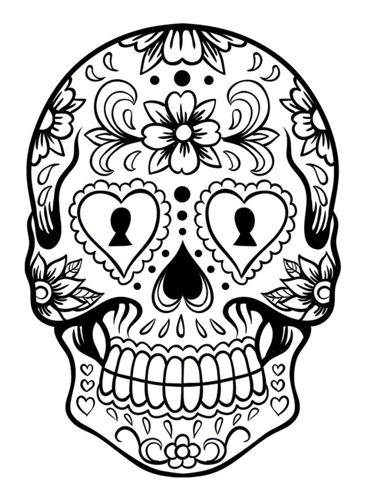 Dessin a imprimer pour ado xl69 jornalagora - Tete mort mexicaine ...