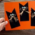 Carte Halloween : les chats noirs