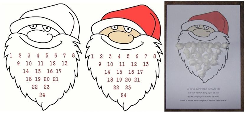 calendrier avent barbe père noel