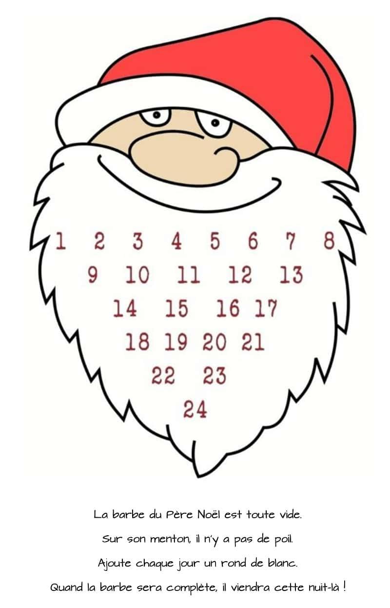 calendrier de l'avent barbe du père noël