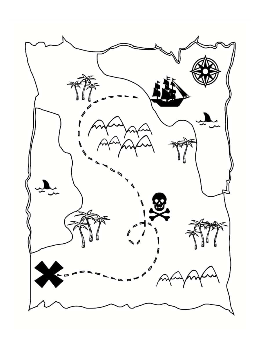 Carte Au Tresor En Dessin.Coloriage Carte Au Tresor Dessins A Imprimer Gratuitement
