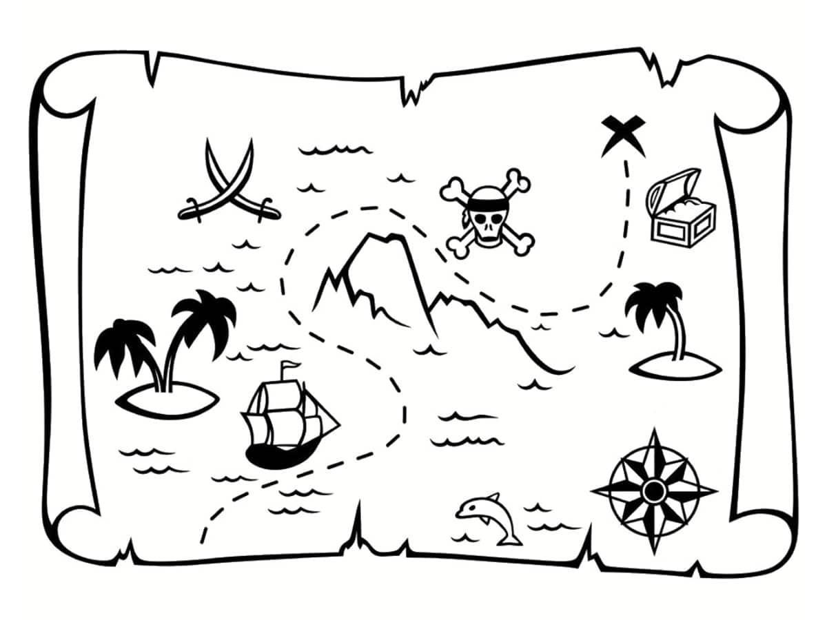 Coloriage carte au tr sor dessins imprimer gratuitement - Dessin de coffre de pirate ...