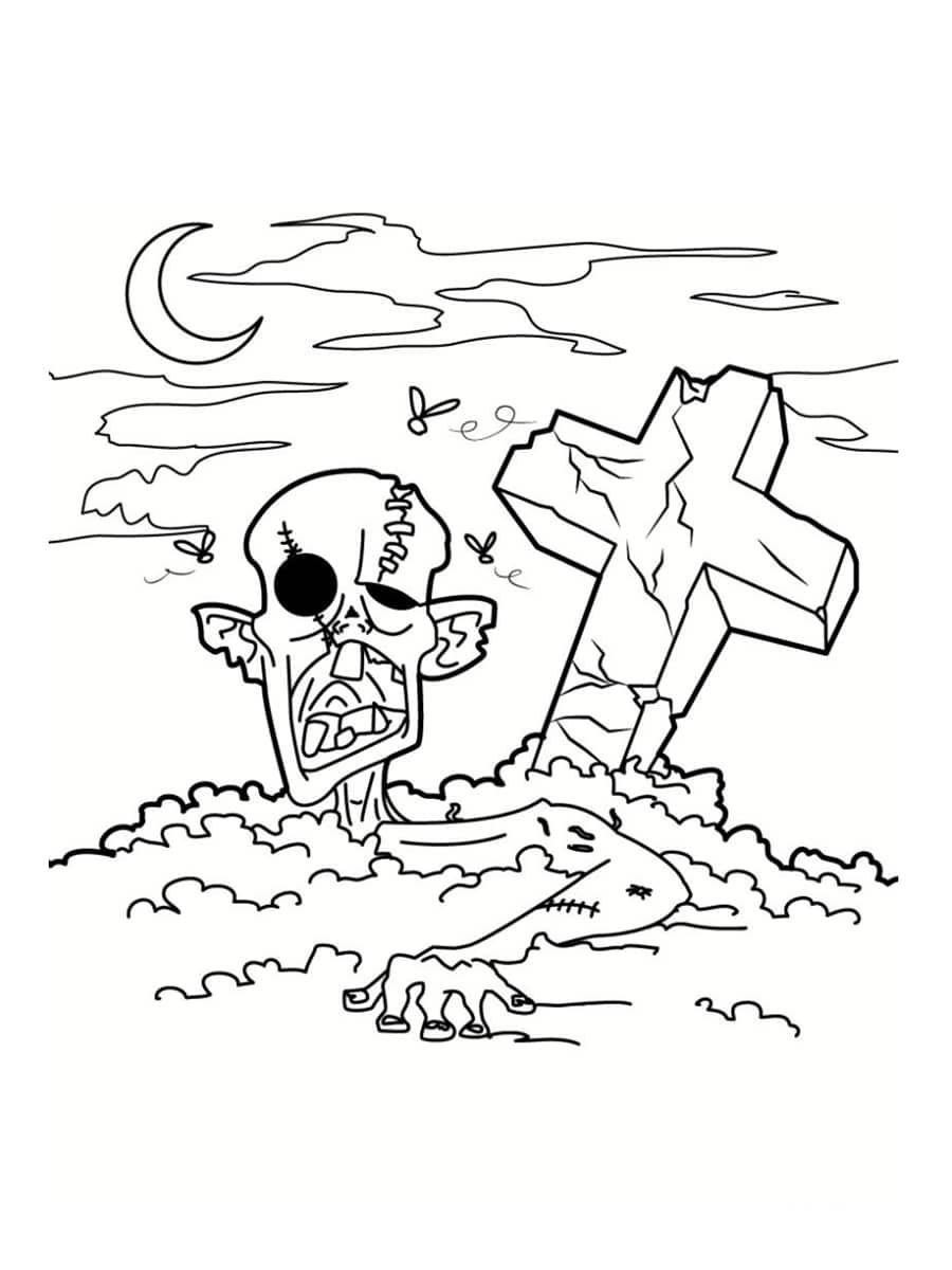 Main zombie dessin - Coloriage zombie ...