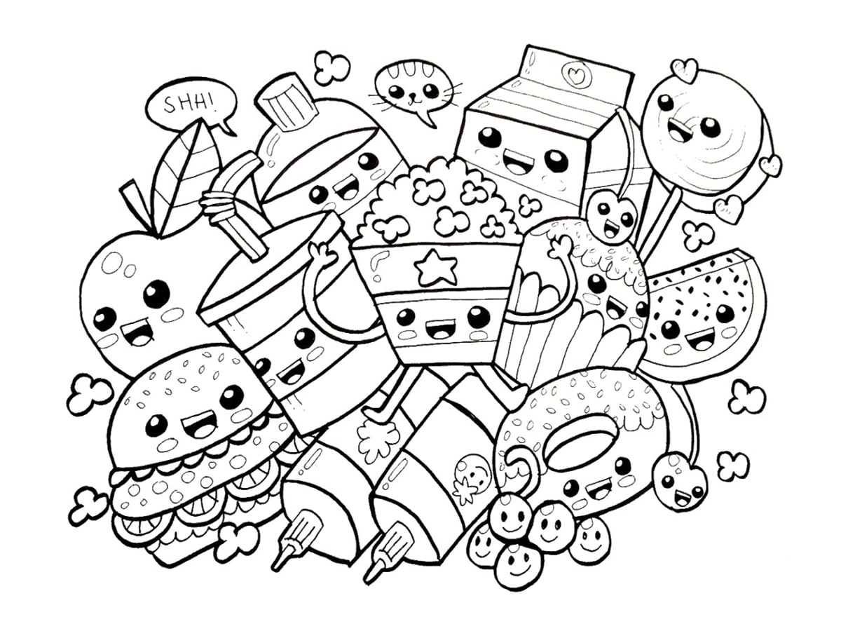 Coloriage kawaii nourriture 15 dessins imprimer Adorable animals coloring book