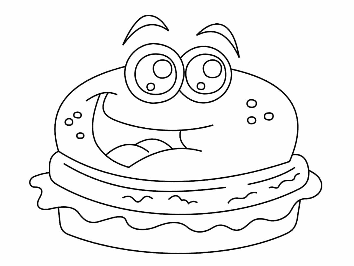 coloriage kawaii burger