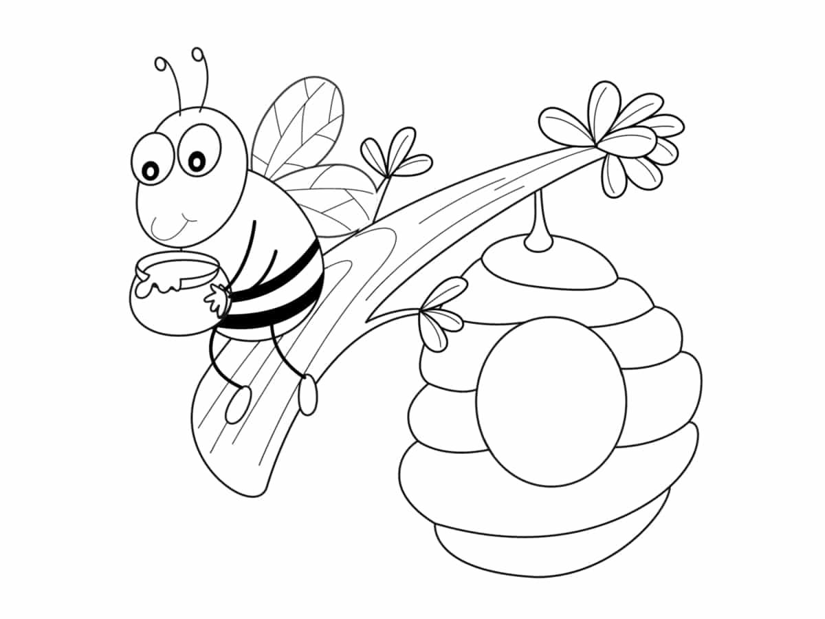 colorier ruche et abeille
