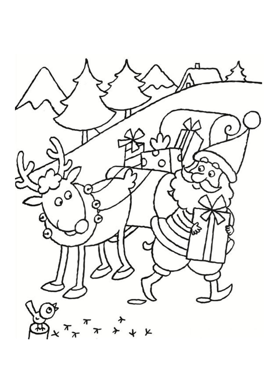 coloriage traineau de noel