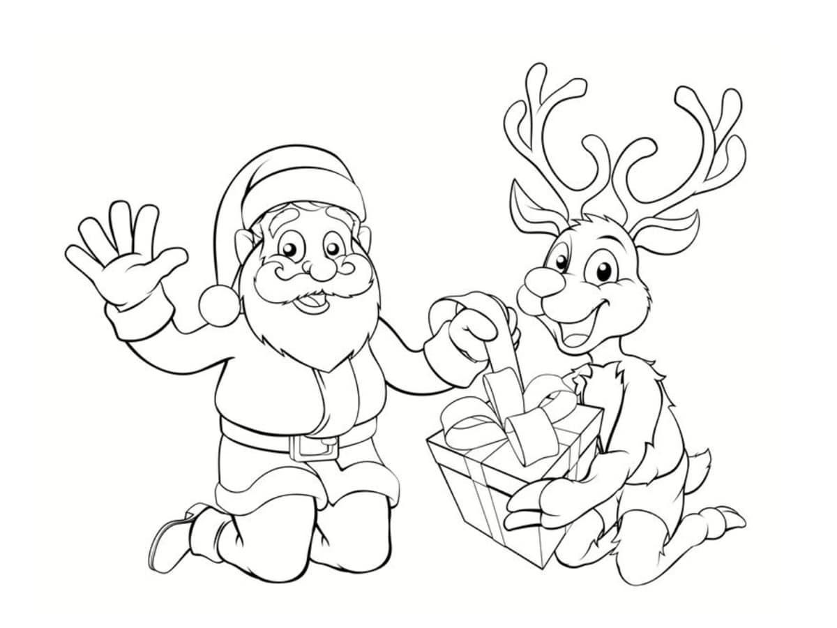 renne et père noel dessin