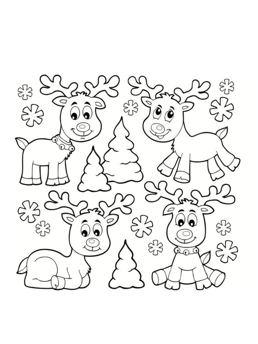 dessin rennes de noel