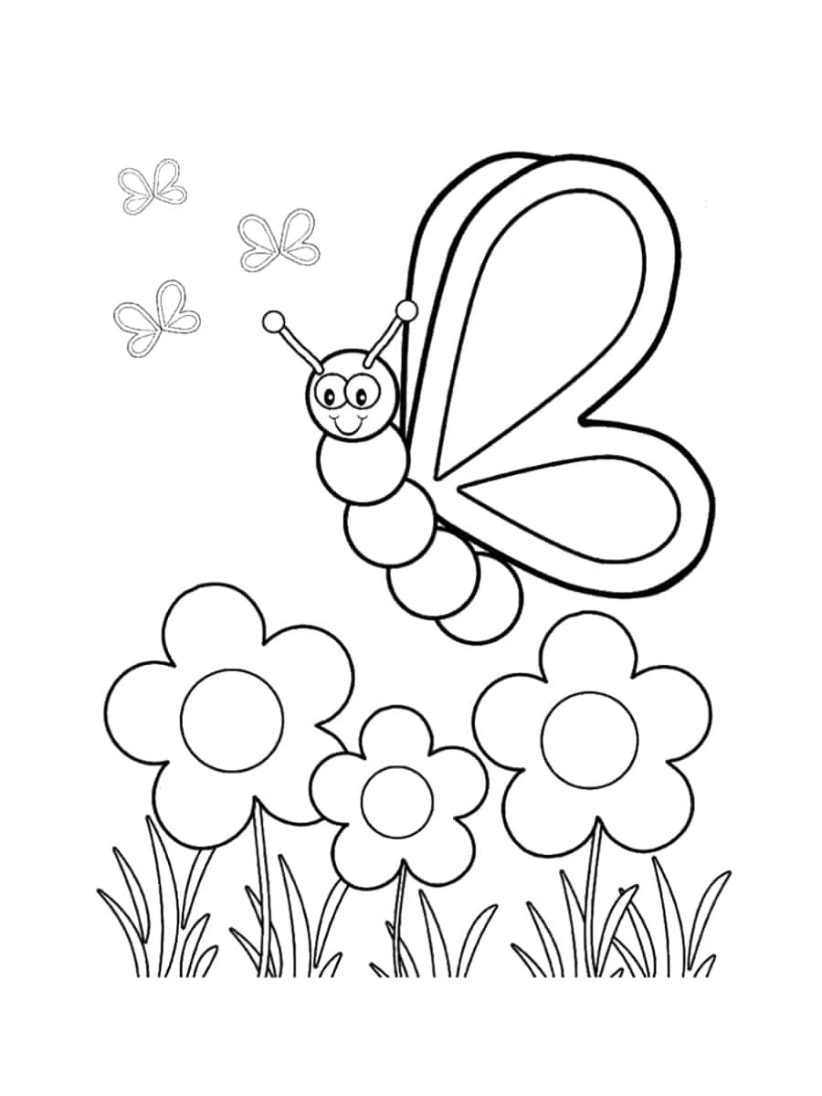papillon et fleurs dessin