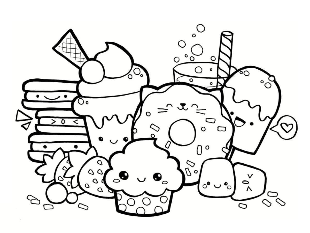 Coloriage kawaii nourriture : 15 dessins à imprimer