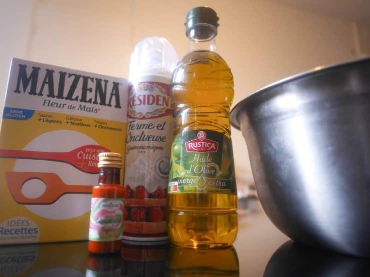 maizena huile et crème fouettée