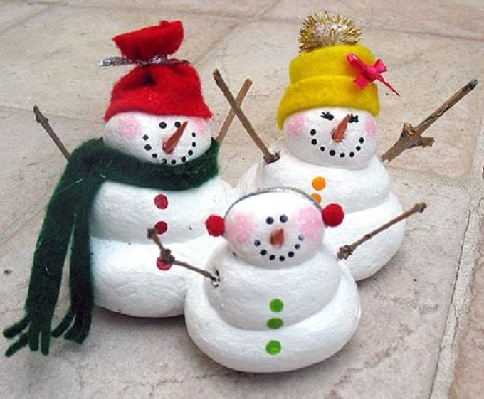 bonhommes de neige pâte à sel