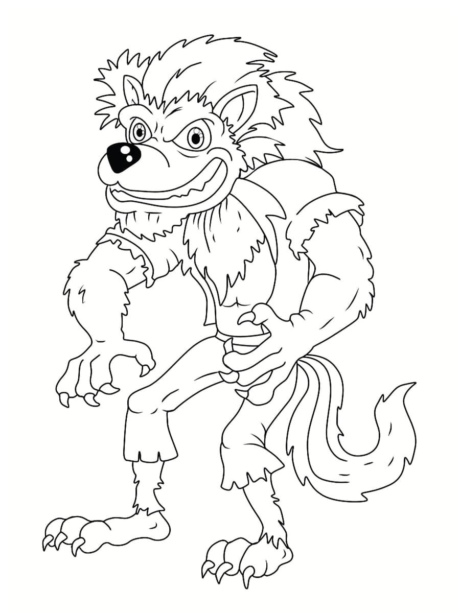 loup garou à colorier