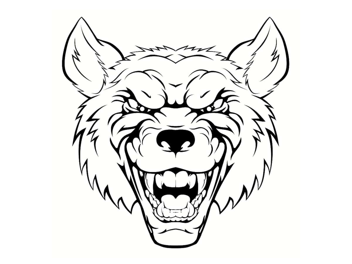 dessin tête de loup garou