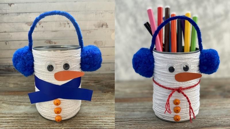 Bonhomme de neige boîte de conserve